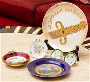Sale 8882H - Lot 82 - A religious plate together with a collection of small decorative plates including limoges and a fine gilt rimmed porcelain ash tray