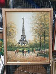 Sale 8910 - Lot 2037 - Artist Unknown - Paris Street Scene and Eiffel Tower acrylic, unsigned