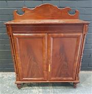Sale 8993 - Lot 1071 - Regency Mahogany Chiffonier, with low back, panelled frieze & two panel doors with cushion frames, flanked by turned columns (H:110...