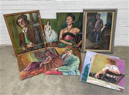 Sale 9130 - Lot 2063 - A Group of (10) Portrait Paintings c40s - 50s & 1980s by Beverley Symonds (nee Kent), various sizes (condition issues)