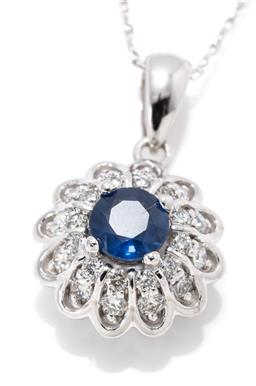 Sale 9164J - Lot 430 - A 14CT WHITE GOLD SAPPHIRE AND DIAMOND PENDANT NECKLACE; centring a round cut sapphire of approx. 0.54ct to surround of 24 round bri...