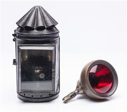 Sale 9185E - Lot 52 - A vintage brass cased car tail light, Length 14.5cm, together with a miners lantern, Height 23cm