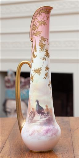 Sale 9190H - Lot 208 - An antique Doulton Burslem scenic painted ewer C: 1900. The tall slim long handled ewer decorated with trailing branched leaves amid...