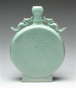 Sale 9211 - Lot 36 - A Chinese Celadon Moon Flask Vase Featuring Embossed Design of a Woman on Eagle and Woman Playing Flute (H:35.5cm Dia:26.5cm)