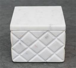 Sale 9248H - Lot 158 - A small marble lidded box with a carved diaper design.
