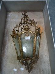Sale 7974A - Lot 1058 - Brass and Etched Glass Lantern