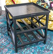 Sale 8298 - Lot 9 - A Black Side Table with Lift out tray from La Maison. 60 x 60 x 85cm