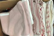 Sale 8310A - Lot 325 - A box of quality linen backed table cloths, all with red details, including gingham border, and striped