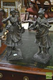 Sale 8359 - Lot 1024 - Pair of French Spelter Figures, of young women titled Manon & Mirelle after Xavier Raphanel & foundry marks to back