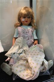 Sale 8369 - Lot 73 - Hard Plastic Doll with Sleeping Eyes, Noise Box been repaired