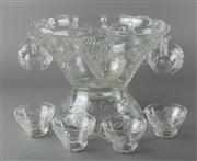 Sale 8444A - Lot 47 - A glass punch set for 11 with punchbowl decorated with bunches of grapes, D 31cm, on matching stand total H 24cm