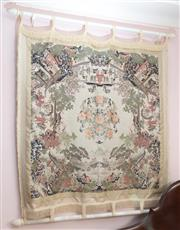 Sale 8515A - Lot 64 - A Chinese wall hanging in the round of typical scenes on a white ground, 100 x 95cm