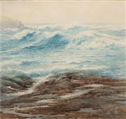 Sale 8583A - Lot 5090 - Samuel Cocks (1871 - 1948) - The Relentless Sea, Kiama 27 x 29cm