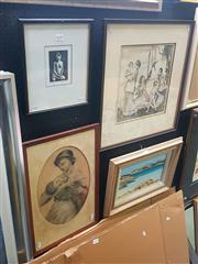 Sale 8650 - Lot 2028 - Thea Proctor Decorative Print, together with An original pencil drawing of mother and child unsigned, A wood cut by G Schultz