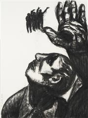 Sale 8722 - Lot 586 - Patrick Hanigan (c1925 - ) - Untitled, 1986 (Mans Profile and Hand) 58 x 78cm