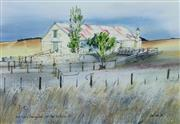 Sale 8753A - Lot 5076 - Bill Walls (1940 - ) - Early Morning Shearing Shed, 1986 37 x 53.5cm