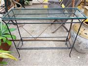 Sale 8740 - Lot 1206 - Glass Top Hall Table with Metal Base