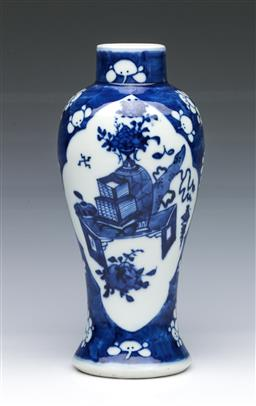 Sale 9093P - Lot 22 - Chinese Blue and White Vase with Precious Objects and Kangxi Mark (H: 23 cm)