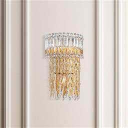 Sale 9140W - Lot 21 - A set of four Triandra by Schonbek three light wall sconce with clear crystal drops in heirloom gold.  Height 40.6 x Width 35.4 x De...