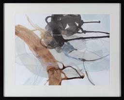 Sale 9150H - Lot 107 - A Designer Boys Art framed abstract watercolour, impressed DB to mount, image size 60x 80cm