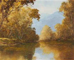 Sale 9170 - Lot 509 - KEVIN BEST (1932 - 2012) Autumn Reflections oil on board 40 x 50 cm (frame: 60 x 70 x 4 cm) signed lower right