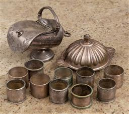 Sale 9160H - Lot 170 - A group of tablewares including sugar pot, napkin rings etc
