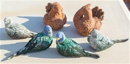 Sale 9165H - Lot 202 - A pair of terracotta doves together with four lorikeets. Largest Length 14cm