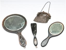 Sale 9164 - Lot 340 - An ebony shoe horn with silver plaque together with a silver chain link purse and two timber hand mirrors (L:30cm)