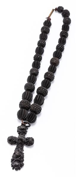 Sale 9180E - Lot 24 - A Victorian necklace of volcanite cross form charm and carved timber geometric beads, Length 36cm