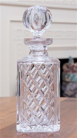 Sale 9190H - Lot 144 - A Crystal square form decanter and stopper, Height 25cm