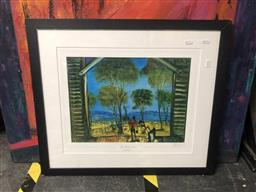 Sale 9176 - Lot 2114 - Signed Pro Hart decorative print of the shearers shed, 479 /700, frame: 57 x 66cm , signed lower left -