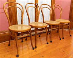 Sale 9260M - Lot 4 - A set of 4 mid-twentieth century bentwood chairs with rattan seats in very good condition (H 93cm)