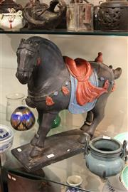Sale 8100 - Lot 79 - Oriental Painted Horse Sculpture with Signature to the Base