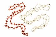 Sale 8388 - Lot 310 - A PEARL AND CORAL & TWO PEARL NECKLACE; an Akoya cultured pearl and branch coral necklace, 78cm and 2 matching freshwater rice pearl...