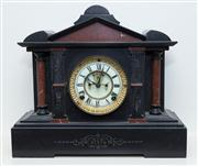 Sale 8402H - Lot 12 - A Belgian slate mantle clock of classical form with visi brocot escapement. Width 38cm.