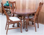 Sale 8515A - Lot 65 - A timber breakfast table on cabriole legs, and three arts and crafts style chairs