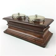 Sale 8562R - Lot 56 - Timber Desk Stand with Dual HMSS Inkwells (W: 20cm)