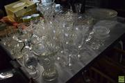 Sale 8563T - Lot 2545 - Collection of Crystal & Glass Wares incl. Glasses, Finger Bowls, Vases, Platters, etc