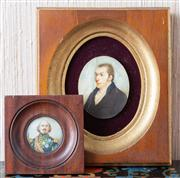 Sale 8650A - Lot 91 - A C19th miniature of Sir John Jackson Ban, monogrammed H Hone, dated 1894, in a gilt frame, 17 x 15cm, together with another miniatu...