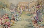 Sale 8845 - Lot 2010A - Hetty Dymock (1876 - 1977) - Untitled (Residential Garden Scene), 1914 26.5 x 41cm
