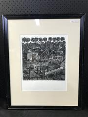 Sale 8953 - Lot 2041 - Peter Zanetti The Fishermans Co-op Brooklyn lino-cut ed. 1/25, 55 x 67cm (frame), signed and Artarmon Galleries label verso