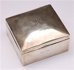 Sale 9122 - Lot 53 - Hallmarked Sterling Silver Cigarette Box With Timber Lining, (H:7cm x W:10cm x D:9cm)