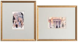 Sale 9165H - Lot 71 - Two watercolours depicting Petra Tombs & Temples of Jordan, 12.5x20.5cm