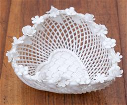 Sale 9190H - Lot 63 - An antique Irish Belleek porcelain 4 strand pierced heart shaped bowl with applied florals to the rim, on a stepped base, the heart...