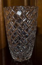 Sale 7981B - Lot 6 - An impressive large Art Deco hand cut lead crystal vase measuring 250 x 160 x 160mm