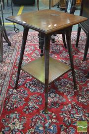 Sale 8255 - Lot 1044 - Arts and Crafts Walnut Occasional Table, with square top & ring turned legs, makers plaque for Walker, Sons & Bartholomew Ld