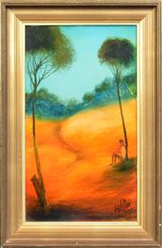 Sale 8274 - Lot 545 - Kevin Charles (Pro) Hart (1928 - 2006) - Figure by a Tree 50 x 28.5cm