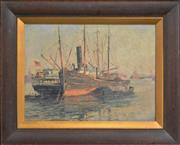 Sale 8301 - Lot 574 - William Ashton (1881 - 1963) - Ships in a Harbour 29 x 38.5cm