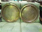 Sale 8424 - Lot 1021 - Pair of Brass Trays