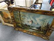 Sale 8429A - Lot 2068 - (2 works) Alpine Scene and Forest Scene with River by Unknown Artists, acrylic paintings, each signed lower (frame size approx 80 x...